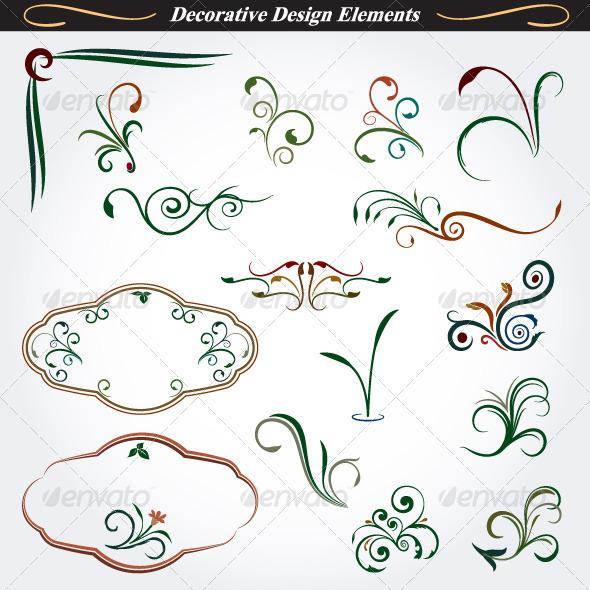 Collection of Decorative Design Elements 6 - Flourishes / Swirls Decorative