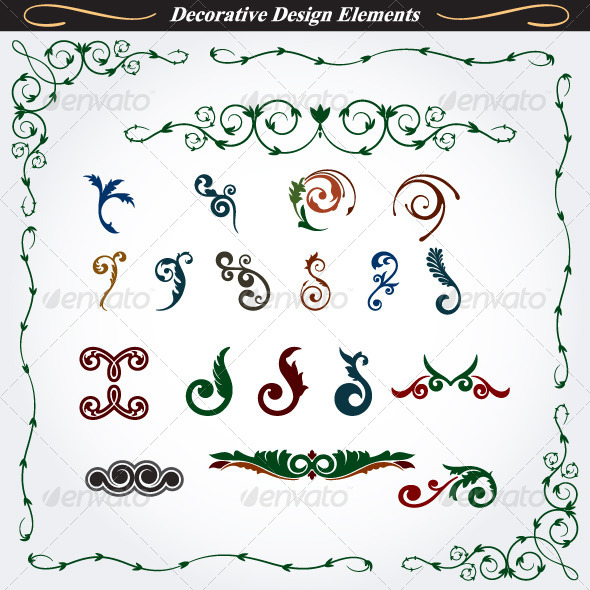 Collection of Decorative Design Elements 7 - Flourishes / Swirls Decorative