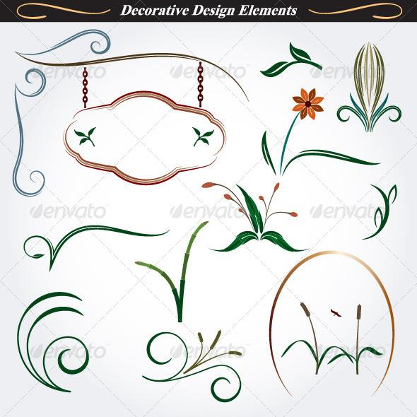 Collection of Decorative Design Elements 9 - Flourishes / Swirls Decorative
