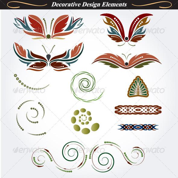 Collection of Decorative Design Elements 12 - Flourishes / Swirls Decorative