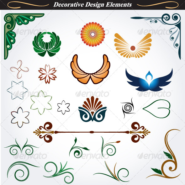 Collection of Decorative Design Elements 13 - Flourishes / Swirls Decorative