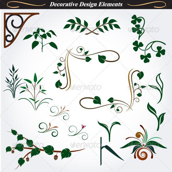 Collection of Decorative Design Elements 14 - Flourishes / Swirls Decorative