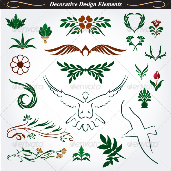 Collection Of Decorative Design Elements 40 By Infografx GraphicRiver Enchanting Decorative Design Elements