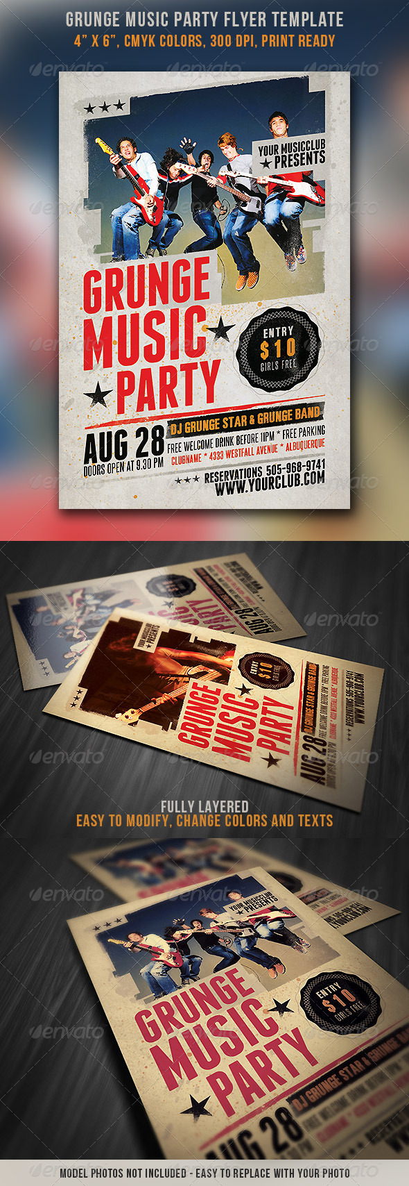 Grunge Music Party Flyer - Events Flyers