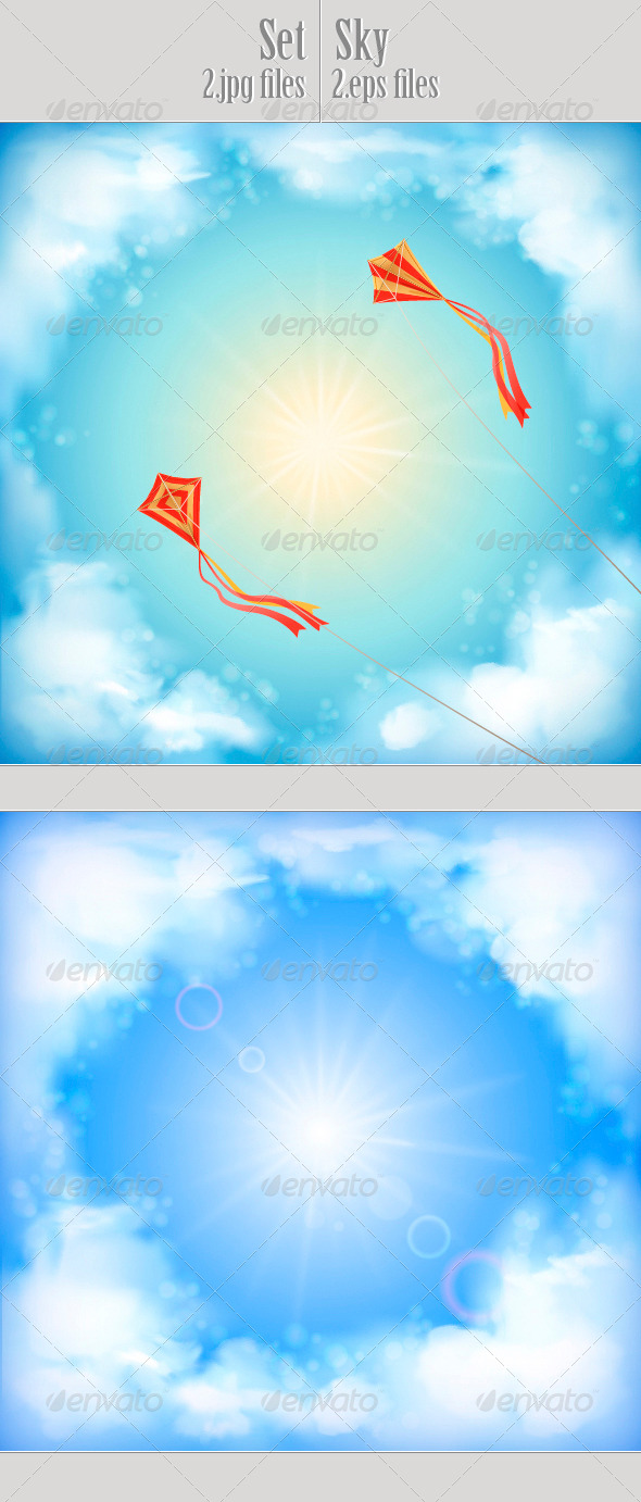Sky Vector Design, White Clouds, Sun, Flying Kites - Landscapes Nature