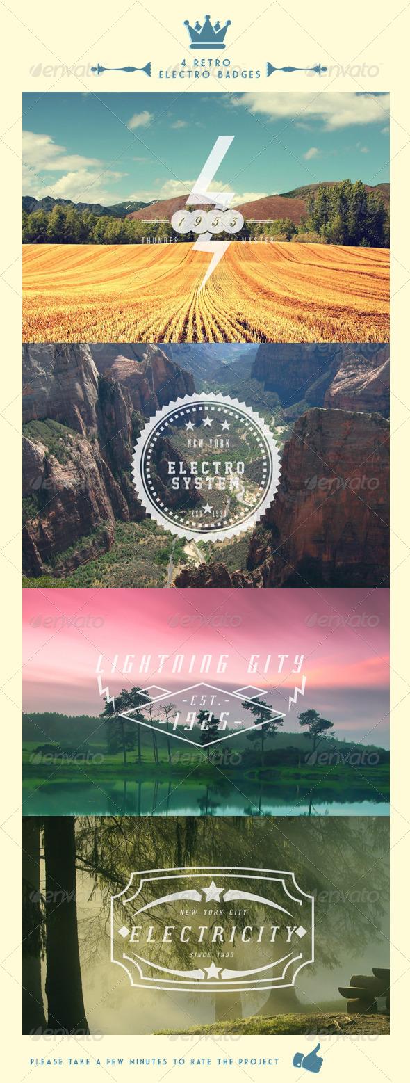 4 Retro Electro Badges - Badges & Stickers Web Elements