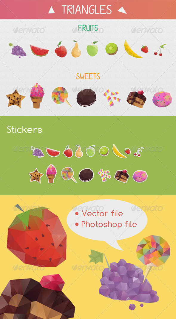 Vector Food Triangle Stickers - Food Objects