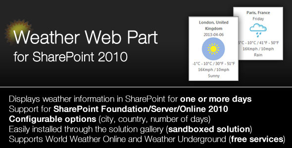 SharePoint 2010/2013 Weather Webpart - CodeCanyon Item for Sale
