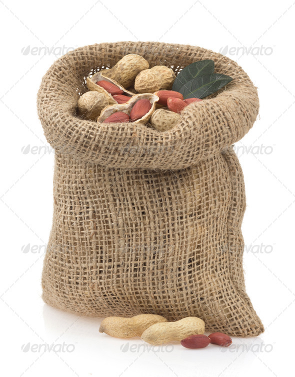 nuts peanuts isolated on white - Stock Photo - Images
