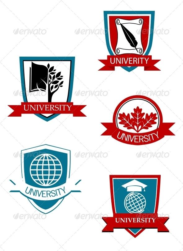 Set of University and College Symbols - Decorative Symbols Decorative