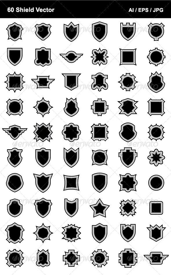 60 Shield Vector - Decorative Symbols Decorative
