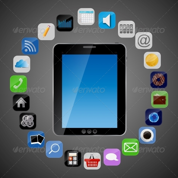 Universal Design Tablet with App Icons Vector - Computers Technology