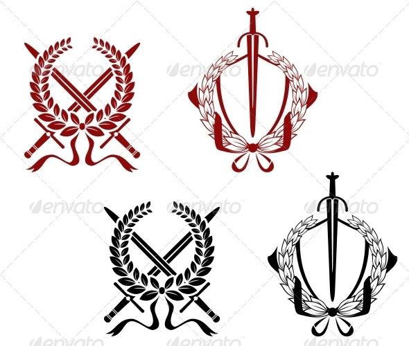 Laurel Wreathes with Swords and Sabers - Decorative Symbols Decorative