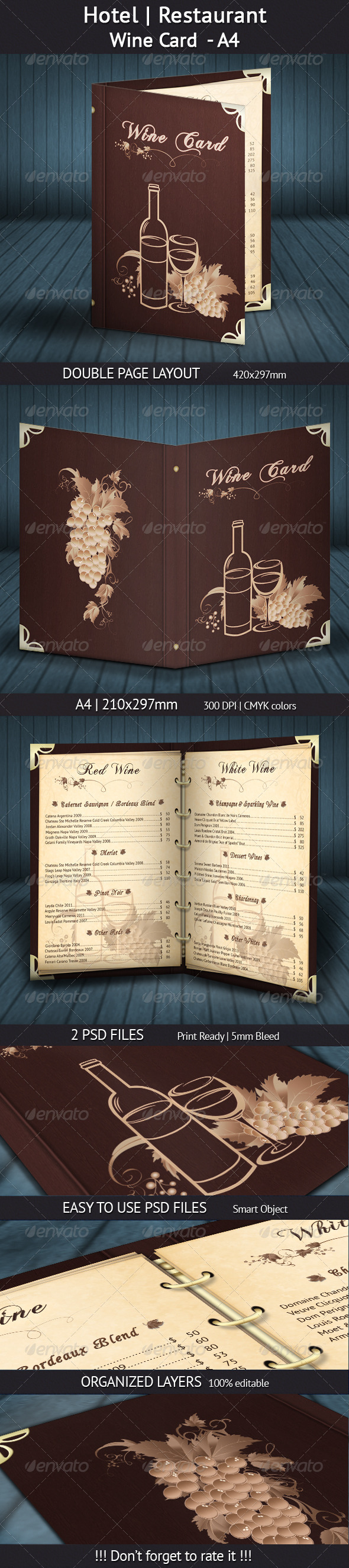 Hotel | Restaurant Wine Card - A4 - Restaurant Flyers