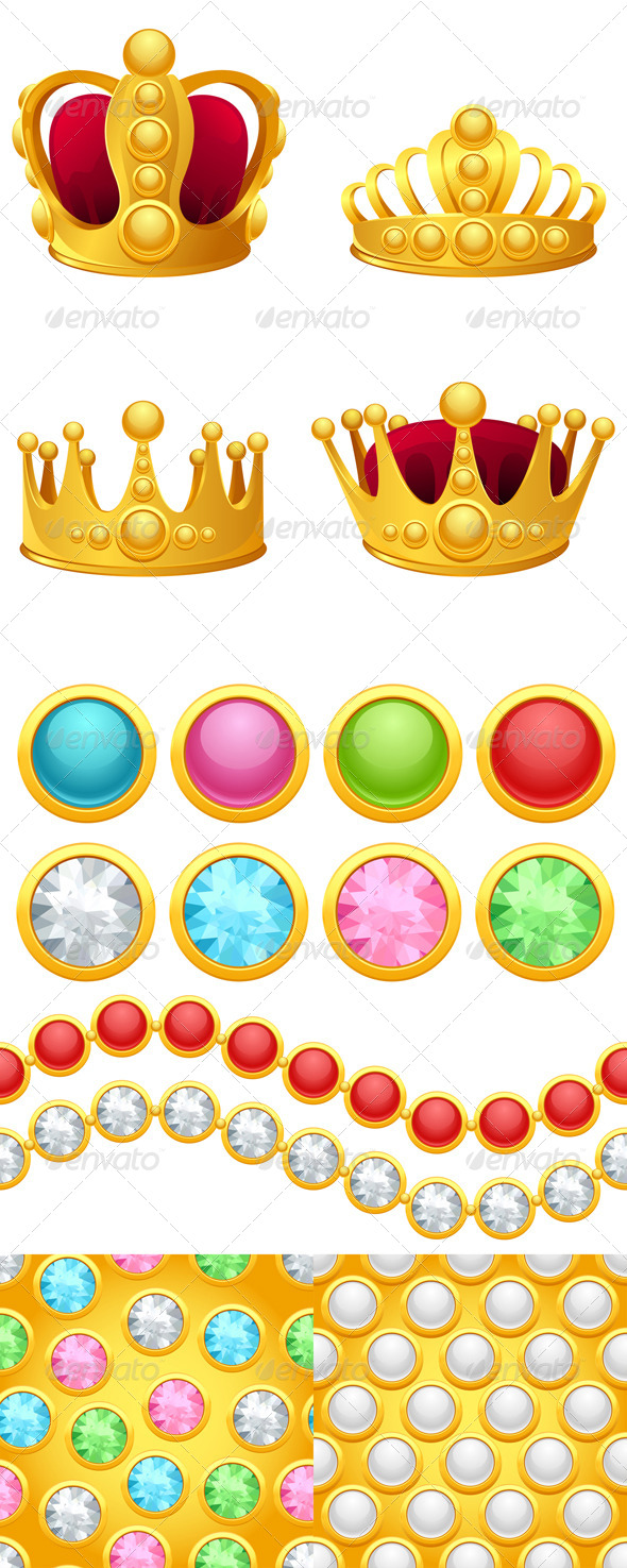 Set of Gold Crowns, Jewelry Buttons and Patterns. - Decorative Symbols Decorative