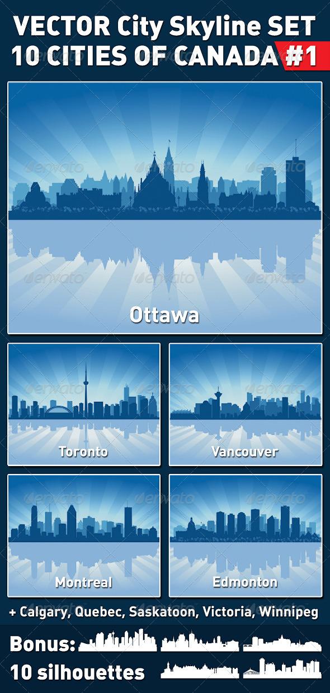 Vector City Skyline Set. Canada #1 - Buildings Objects