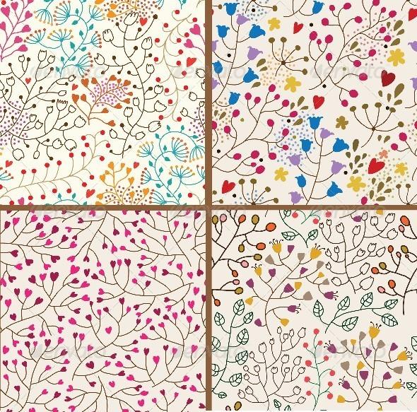 Set of Four Colorful Floral Patterns  - Patterns Decorative