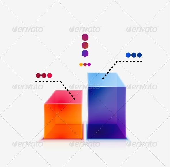 Abstract Colorful Glossy Graph Concept - Web Elements Vectors