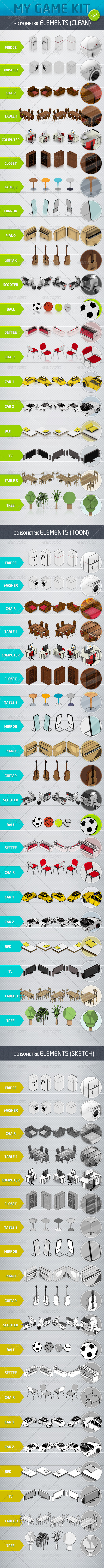 Mygame 3D Isometric Kit Vol.1 - Objects 3D Renders