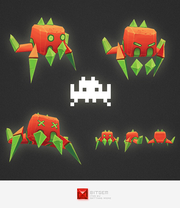 Low Poly Space Invader Alien 03 - 3DOcean Item for Sale