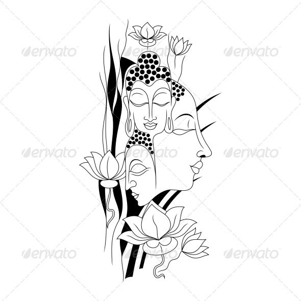 Artistic Gautam Buddha Vector Illustration - Religion Conceptual