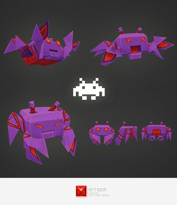 Low Poly Space Invader Alien 04 - 3DOcean Item for Sale