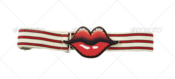 Red lips and strass buckle elastic striped belt - Stock Photo - Images