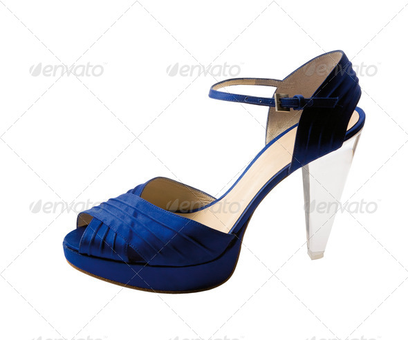 Transparent heel blue peep toe - Stock Photo - Images