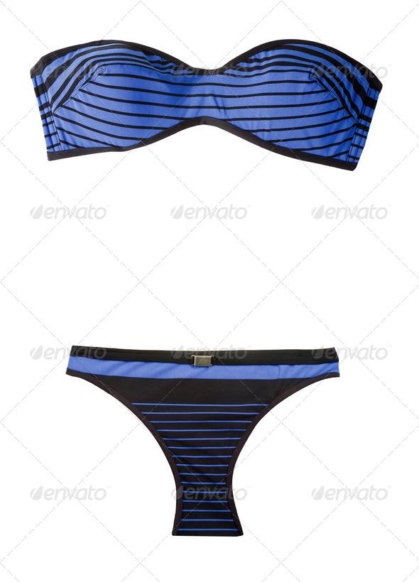 Bandeau striped indigo bikini - Stock Photo - Images