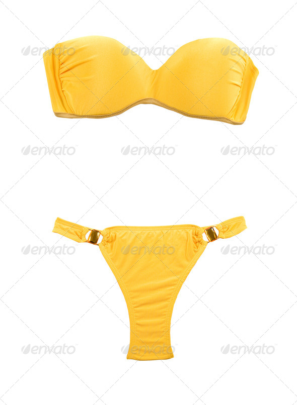 Yellow bandeau bikini with two big gems - Stock Photo - Images