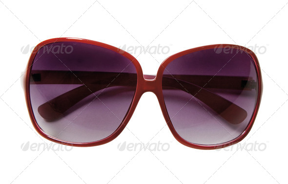 Red rimmed sunglasses - Stock Photo - Images