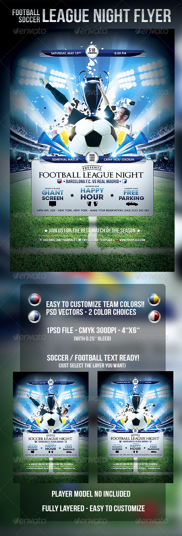 Football Soccer League Night Flyer Template By Odindesign