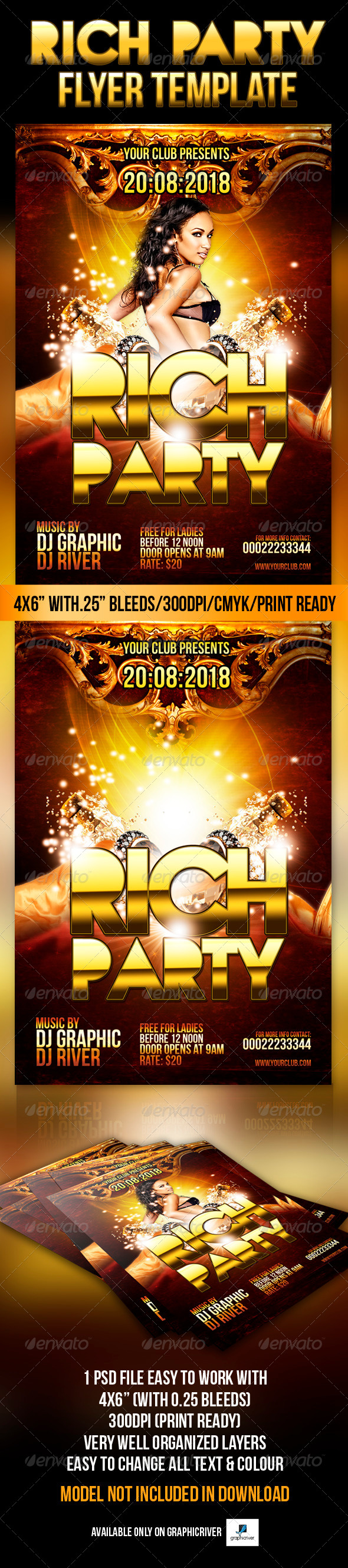 Rich Party Flyer Template - Flyers Print Templates