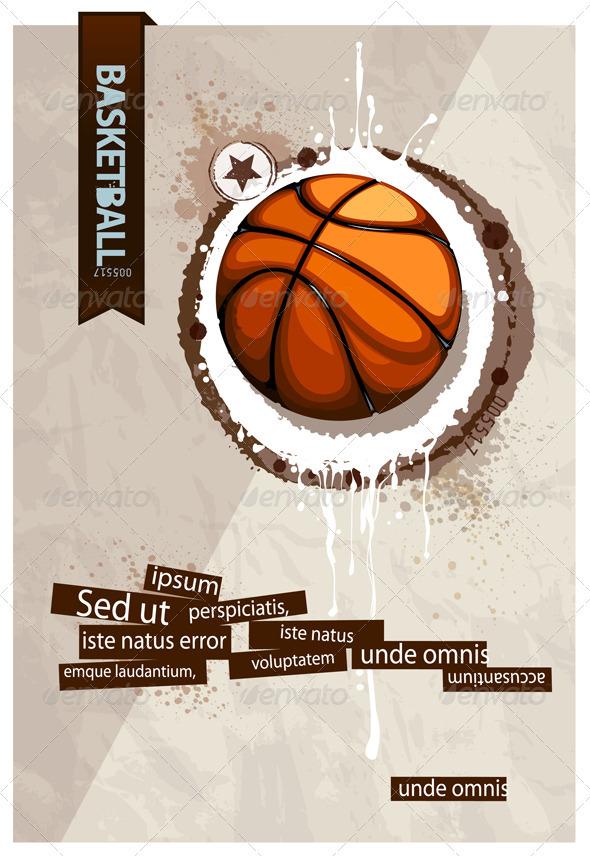 Grunge basketball illustration - Vectors