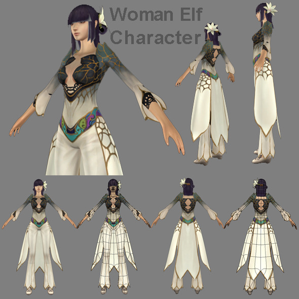 Woman Elf Character - 3DOcean Item for Sale