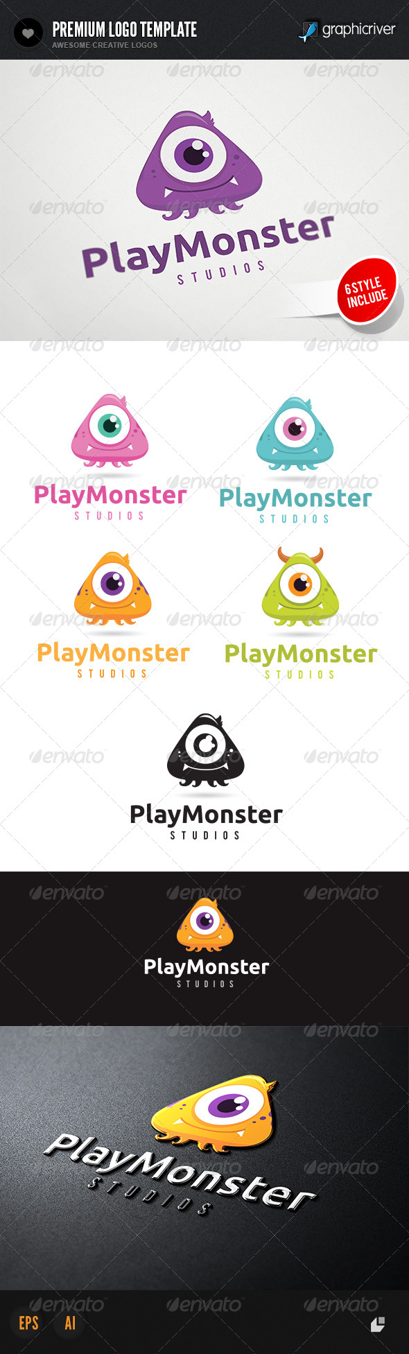 Play Monster Logo - 3d Abstract