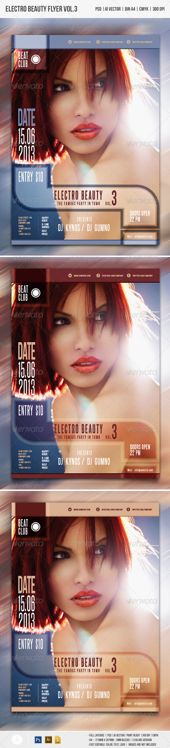 Electro Beauty Flyer Vol.3 - Clubs & Parties Events
