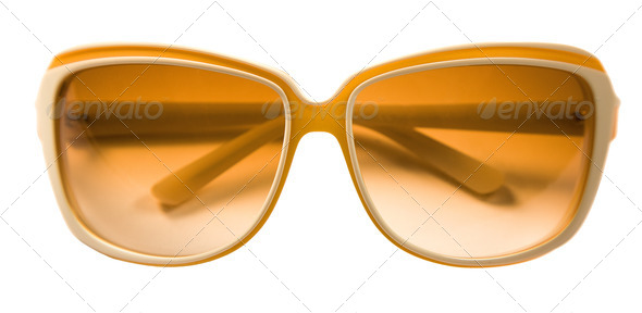 Bicolor rimmed yellow white sunglasses - Stock Photo - Images