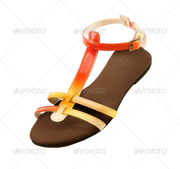 Red to yellow gradient patent leather sandal - Stock Photo - Images
