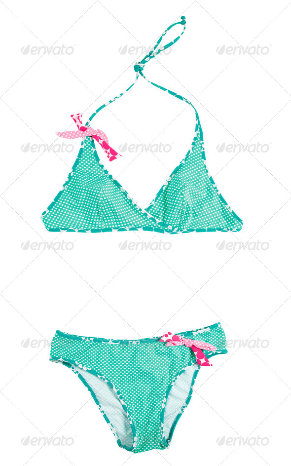 Cross-front polka dots green bikini with pink laces - Stock Photo - Images