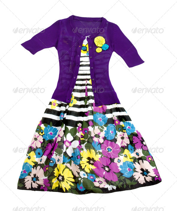 Flowers and stripes dress with knit pullover - Stock Photo - Images