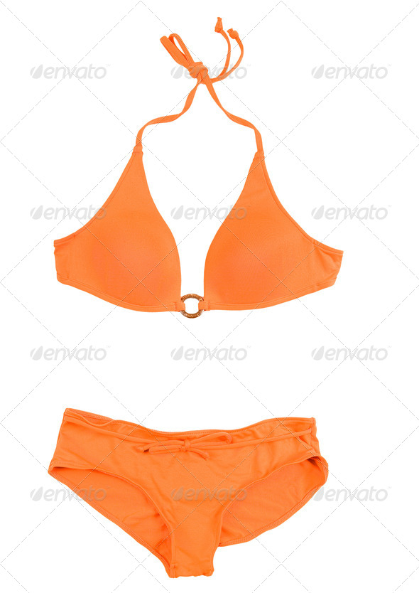 Orange halter bikini - Stock Photo - Images