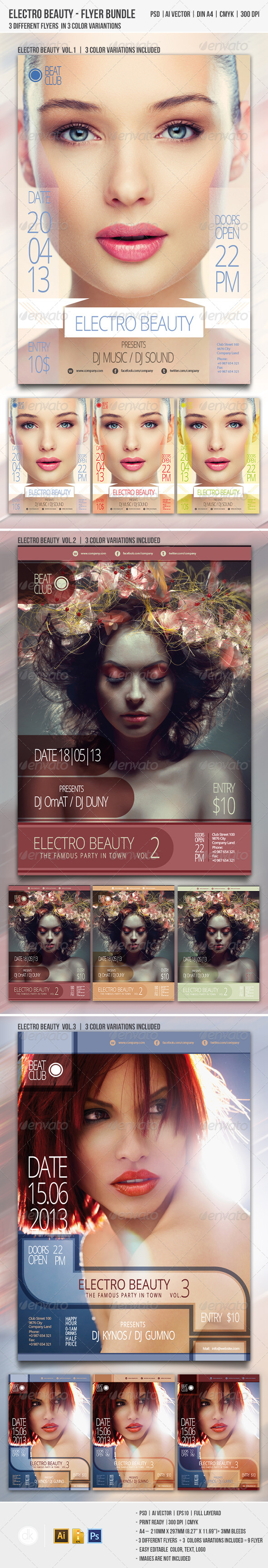 Electro Beauty Flyer Bundle - Clubs & Parties Events