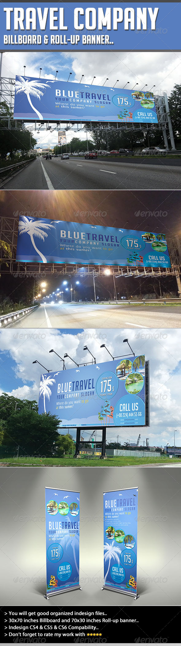 Travel Company - Billboard & Rollup Template - Signage Print Templates