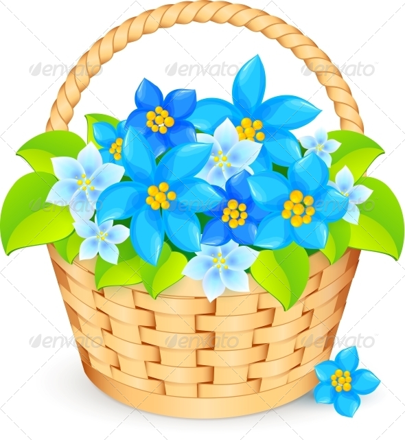 Vector Basket of Blue Flowers - Flowers & Plants Nature