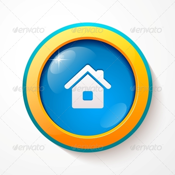 Blue Glass Vector Home Button - Web Technology