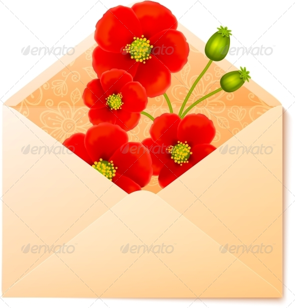 Vecot Envelope with Red Flowers Inside - Flowers & Plants Nature