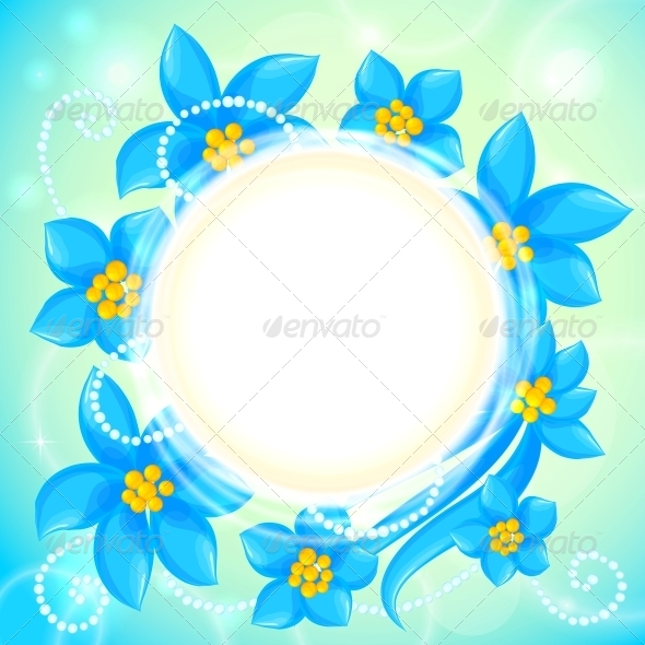 Vector Circle of Blue Flowers Greeting Card - Flowers & Plants Nature