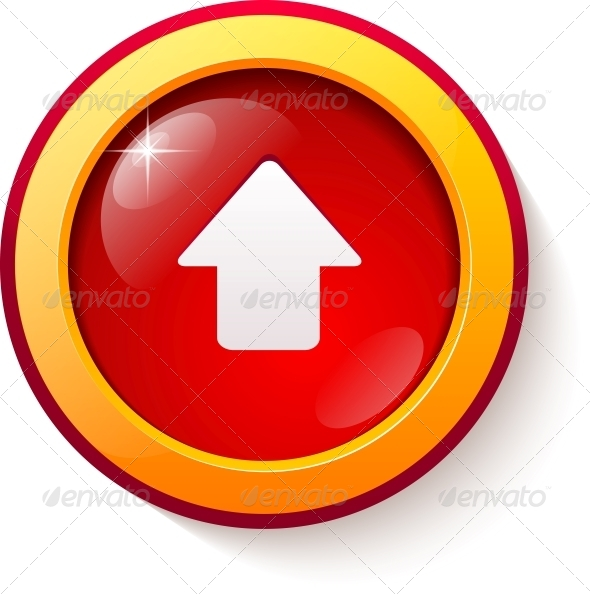 Red Glass Vector Arrow Button - Web Elements Vectors
