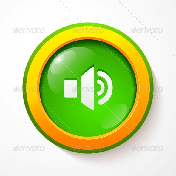 Green Glass Vector Sound Button - Media Technology